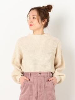 畦編み整形ニットプルオーバー