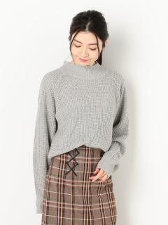 ワッフル編みモックネックニットプルオーバー