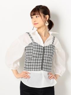 スキッパーシャツ×ツィードビスチェセット