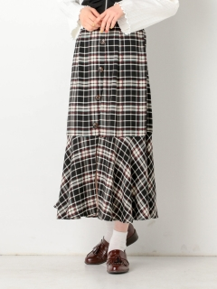 チェック前釦スカート