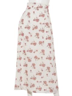 ドット×花柄ロングセミフレアスカート