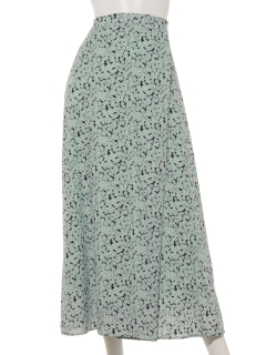 花柄ロングラップフレアスカート