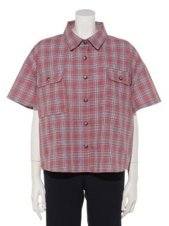 半袖短丈チェックシャツ