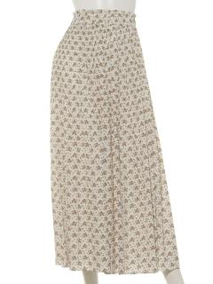a-単色花柄消しプリーツスカート