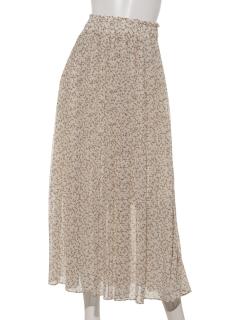 a-レトロ花柄消しプリーツスカート