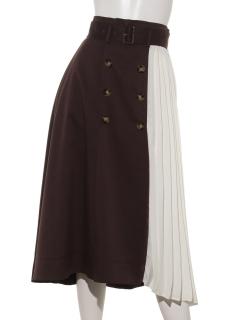 部分プリーツトレンチスカート