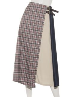 チェック配色ベルト付スカート