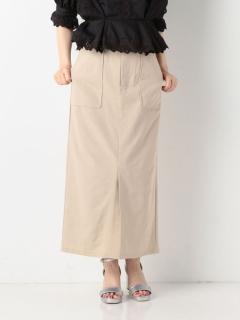 A-綿麻ミディ丈タイトスカート