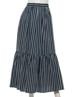 a-綿ストライプ裾ギャザースカート