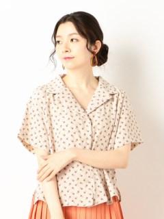 A-花柄オープンカラー半袖シャツ