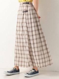 A-リネン風チェックロングキルトスカート