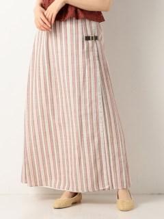 A-リネンストライプロングキルトスカート