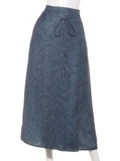 ペイズリープリントラップスカート
