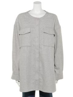 Wポケットノーカラーシャツ