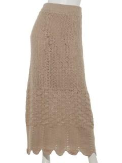 透かし柄ニットスカート