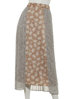 a-花柄プリーツレイヤードスカート