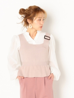 アシメニットビスチェ+ボリューム袖BLSET