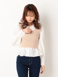 バックリボンビスチェ+ボリューム袖BLSET