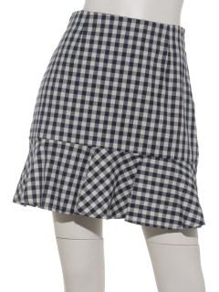 裾フレアギンガムチェックスカート
