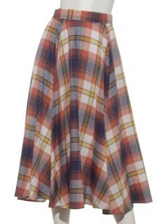 a-チェックフレアスカート
