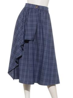 チェックドレープラップスカート