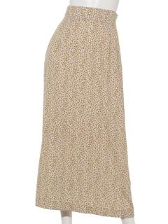 A-小花柄ロングセミフレアスカート
