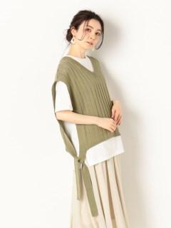 脇リボンニットベスト+オーバーTシャツ