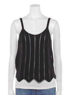 強撚コットン編み柄キャミ