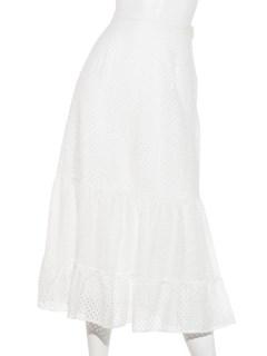 レース切替裾フレアスカート