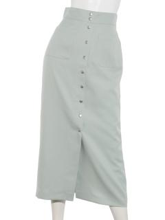 ドット釦ポケット付きタイトスカート