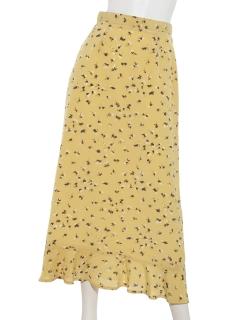 プリント裾ペプラムスカート