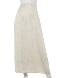線画柄サテンスカート