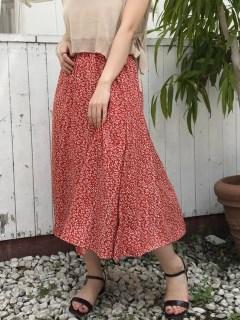 花柄パネルフレアスカート