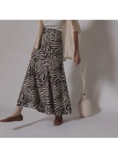 ゼブラ柄パネルフレアスカート