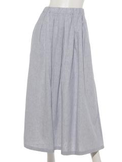 【HONEYCHURCH】綿麻ストライプウエストゴムスカート