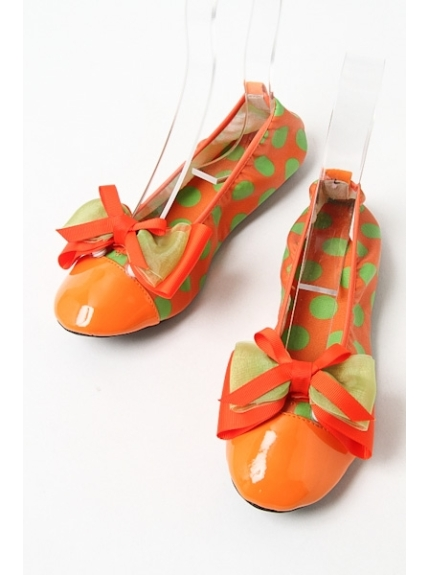 onoff style CheriSherry (オンオフスタイルシェリィシェリー) コンパクト防水バレエシューズ オレンジ/グリーンドット