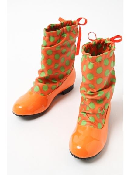 73%OFF onoff style CheriSherry (オンオフスタイルシェリィシェリー) レディース ミドル丈防水ブーツ オレンジ/グリーンドット S