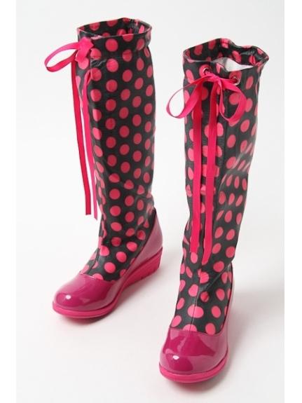 73%OFF onoff style CheriSherry (オンオフスタイルシェリィシェリー) レディース ロング防水ブーツ ブラック/ピンクドット S M