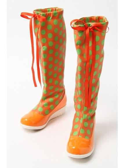 73%OFF onoff style CheriSherry (オンオフスタイルシェリィシェリー) レディース ロング防水ブーツ オレンジ/グリーンドット S