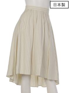 【日本製】ストライプたたみタックアシンメスカート