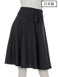 【日本製】ウエストリボン付フレアースカート