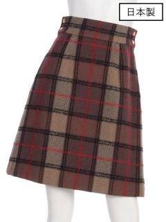 【日本製】ロービングチェックセミタイトスカート