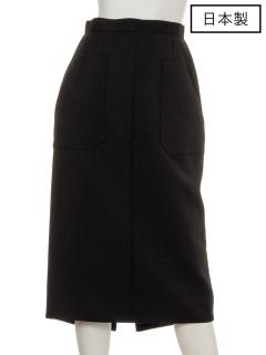 【日本製】ダブルクロスバックテールタイトスカート