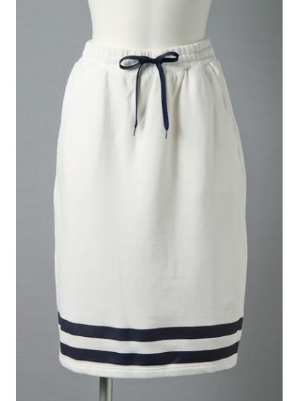 ALLUMER (アリュメール) ラインプリントスカート ホワイト