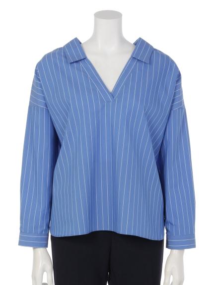 Brownie (ブラウニー) ストライプ両Vネックスキッパーシャツ ブルー