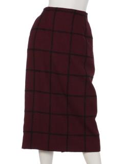 グレンチェックミモレ丈スカート