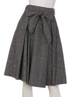 グレンチェックフロントリボンフレアスカート