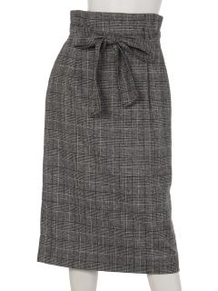 グレンチェックリボンベルト付きタイトスカート