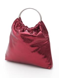 メタルハンドル巾着型バッグ