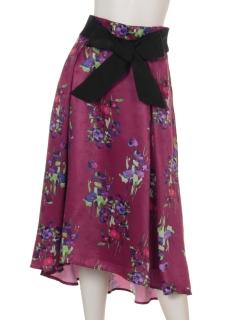 ウエストリボンフラワープリントスカート